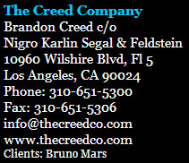 Bruno Mars Manager contact info