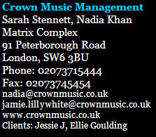 Jessie J manager contact information